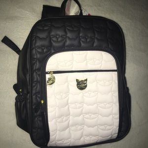 Betsey Johnson Kitty Cat Black and White Backpack